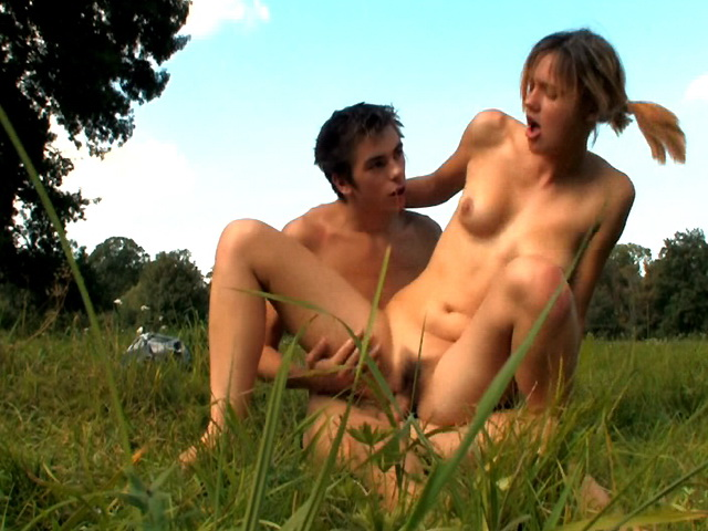 There was nothing innocent about this walk outdoors for these horny nubile chicks. They didn't care about the attractive scenery around them, all they cared about was exploring each others marvelous bodies. In the middle of a field, they gave into their desires. They started making out, clothes started coming off and palms started to explore each other. Everything was calm at first, then their animal desires took over. His weenie, fueled by raw infatuation was soon pushing deep inside of her delicate, wet vagina.video